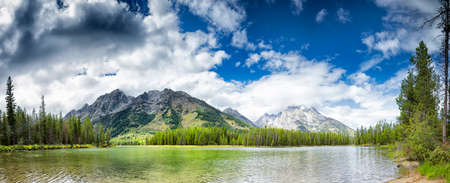 jenny: Panoramic View of serene waters of Jenny Lake in Grand Teton National Park, WY