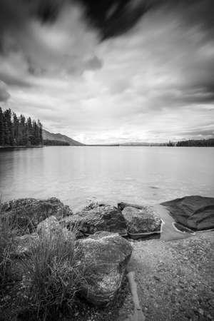 long lake: Black and white long exposure photo of Jenny Lake in Grand Teton National Park