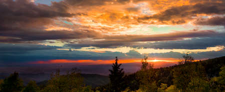 New Mexico fall mountain sunset  featuring golden aspens and brilliant orange sunlight