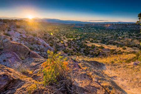 Golden sunrise over Bandelier National Monument
