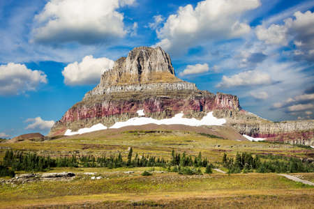 Glacier National Park: Rugged, colorful peak in Glacier National Park, MT