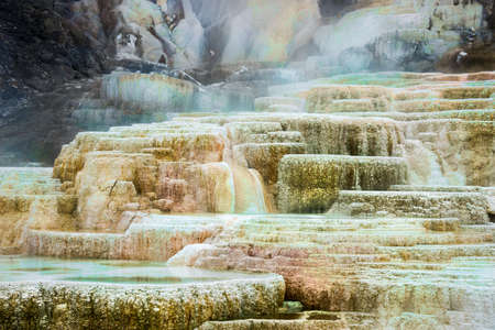 Steamy, colorful terraced rock formations in Mammoth Hot Springs, Yellowstone National Park