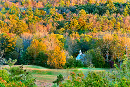 great smokies: Autumn sunset view of Cades Cove in Great Smoky Mountains National Park, TN