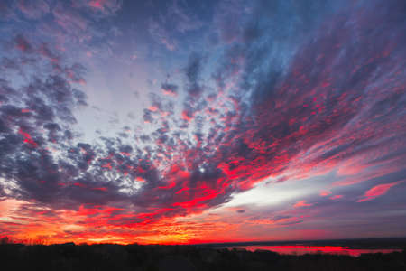 fort worth: Amazing multicolored sunrise over Benbrook Lake in Fort worth, TX