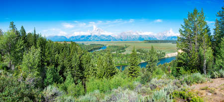 creek: Pretty summer morning at the Snake River Overlook in Grand Teton National Park, WY