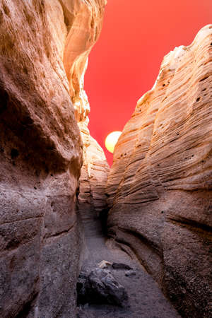 nm: Dramatic sunrise as seen from a slot canyon near Cochiti, NM Stock Photo