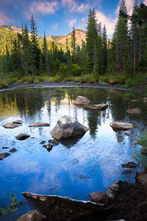 rocky mountains: Beautiful reflections on a pond in the rocky mountains