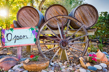wine road: Rustic entrance to a rural winery in the southwest USA Stock Photo