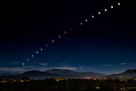 nm: Composite image of lunar phases during a supermoon eclipse over Santa Fe, NM