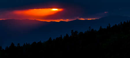 basin mountain: New Mexico mountain sunset  in the Santa Fe Ski Basin Stock Photo