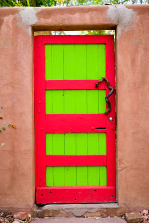 nm: Unique red and green door  in Santa Fe, NM