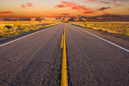 desert highway: Street-level view of a desolate stretch of Highway 84 in northern New Mexico
