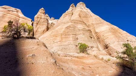 nm: Dramatic hoodoos and geologic formations as seen from a canyon near Cochiti, NM Stock Photo