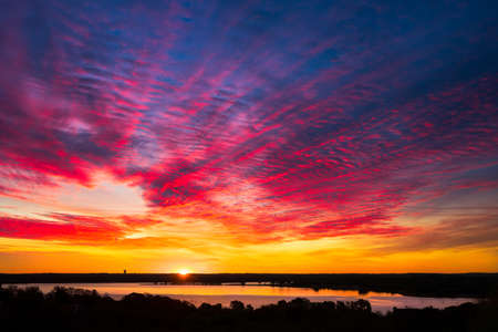 lake: Amazing multicolored sunrise over Benbrook Lake in Fort worth, TX