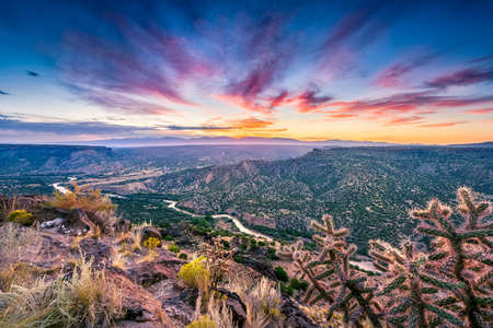 nm: Stunning sunrise at Overlook Point near Bandelier, NM Stock Photo
