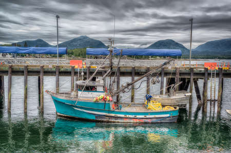 Colorful commercial fishing boat docked in Ketchikan, Alaska