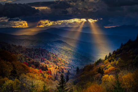 Colorful autumn sunrise over the Smoky Mountains