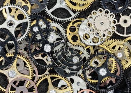 Assortment of gears and other machine parts, macro view Reklamní fotografie