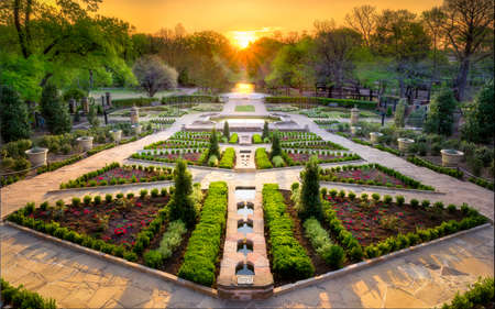 Beautifully Landscaped Urban Rose Garden On A Clear Spring Day In Texas