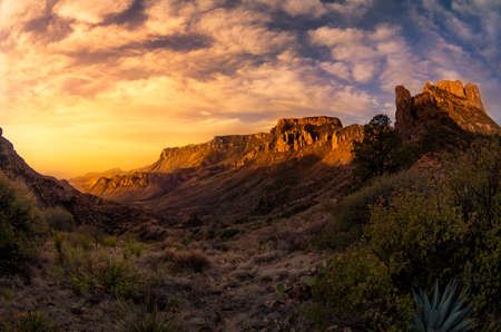 Stunning sunrise over Juniper Canyon in Big Bend National Park