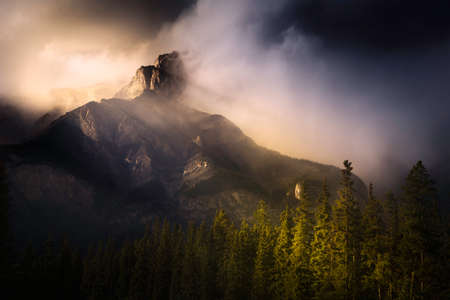 Banff national park foggy mountains and forest in Canada. Reklamní fotografie