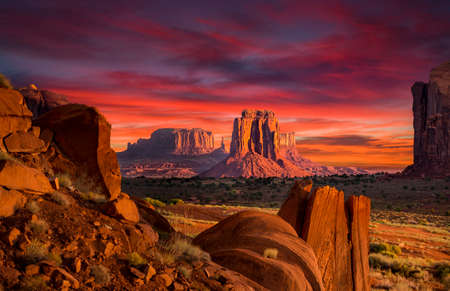 Spectacular Sunrise in Monument Valley Stok Fotoğraf