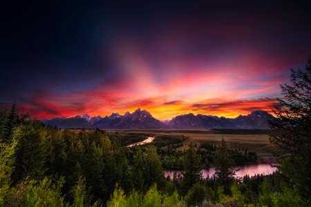 Summer Sunset at Snake River Overlook Reklamní fotografie