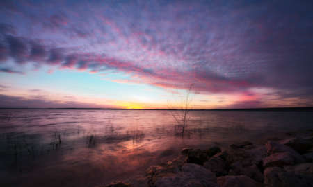 Colorful Sunset Over the Lake