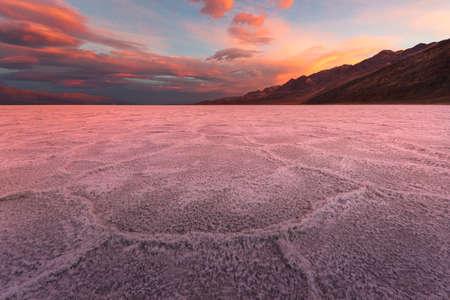 Crimson Sunrise Over the Salt Flats in Badwater Basin