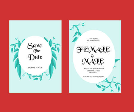 Wedding invitation template with ornament flower and leaves.