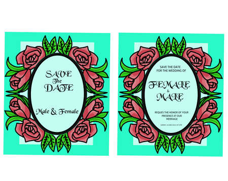 Wedding invitation template with ornament flower