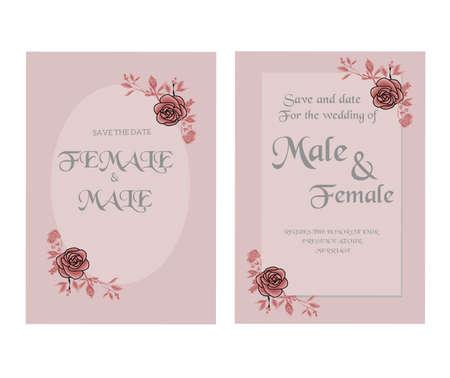 Wedding invitation template design on white background Ilustração