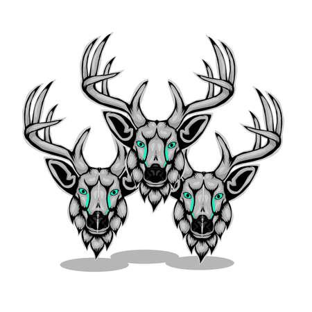 Simple design of illustration head deer on white background.