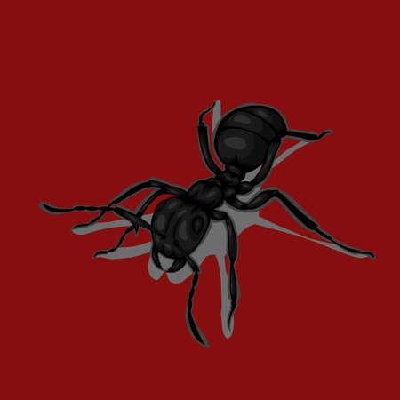 Icon of ants black on red background. Ilustrace