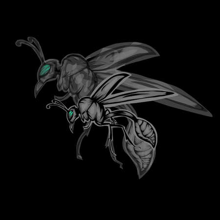Simple design of illustration wasp on black background