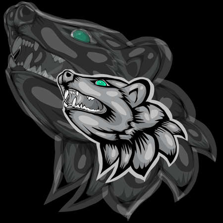 Simple design of head weasel on black background