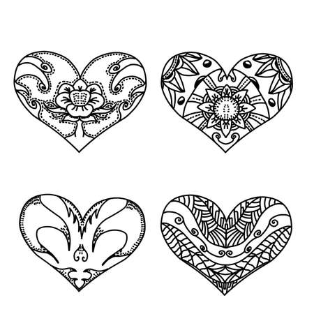 Set of sketch Decoration patterned hearts with style mandalas