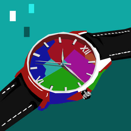 Simple design of illustration wristwatch in wpap or pop art style