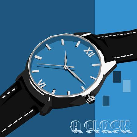 Simple design of illustration wristwatch on blue background