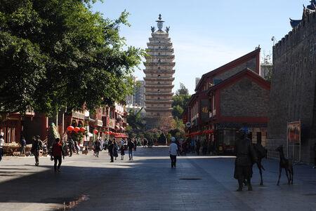 the humanities landscape: Yunnan Kunming Walking Street tower
