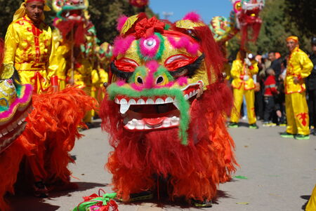 China's Yunnan traditional dragon and lion dance festival