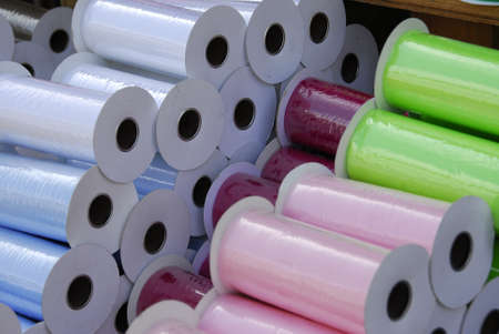 This is a photo of colored spools of tulle for sale at the Canton Market at Canton, Texas.  photo