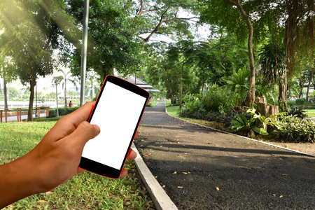 Smart phone with blank screen and can be add your texts or others on smart phone. Stock Photo
