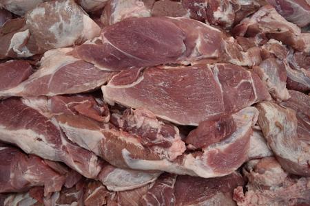 carniceria: Raw fresh meat, beef or pork in supermarket for steak ingredient (Butchery). Foto de archivo