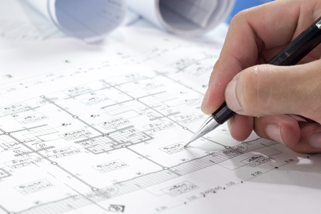 Engineering diagram blueprint paper drafting project sketch engineering diagram blueprint paper drafting project sketch architecturalselective focus photo malvernweather Image collections