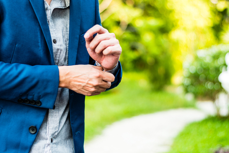 cufflink: Business successful concept : executive business man wear male formal suit serious thinking professional work leadership of company manager , selective focus