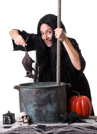 Witch stirring up a spell and adding a rat to the brew