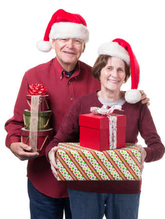 Grandparents with Christmas gifts photo