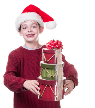 Kid with Christmas gifts