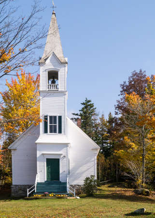 Classic New England Church in Autumn